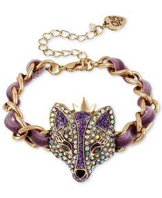 Betsey Johnson Bracelet, Gold-Tone Purple Fox Bracelet - Fashion Jewelry - Jewelry & Watches - Macy's