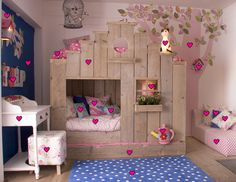 Absolutely gorgeous girls room. The cubby-house come bunk beds is functional AND beautiful. Loving the cat lamp and birdcage apse. What a lucky kid!