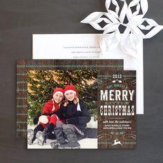 Western Woodgrain holiday photo cards