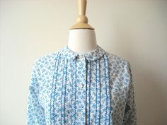 Vintage Blue Flower Peter Pan Collar Blouse by Baxtervintage, $28.00