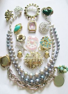 Vintage Jewelry Lot for Repair, Repurpose, Harvest, Crafts Rhinestones, Chains #SarahCoventryCoro