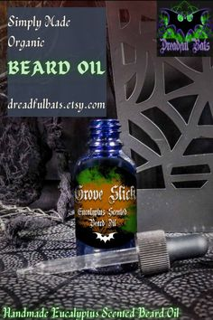 AllDreadful Bats Beard oils are made with 100% Essential Oils and Carrier oils to not only provide an amazing scent but also provides moisture to beard hair and help promote hair growth on skin with the awesome qualities of Cold-Pressed Avocado Oil & Coconut Oil. Get one of these bad boys @ Dreadful Bats on Etsy! Spearmint Essential Oil, 100 Essential Oils, Eucalyptus Essential Oil, Mens Beard Oil, Diy Beard Oil, Glass Dropper Bottles, Beard Look, Vitamin E Oil, Carrier Oils