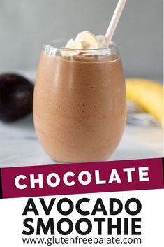 Creamy, smooth and perfectly sweet, this avocado smoothie with chocolate is super simple to make. You're going to love this chocolate avocado smoothie recipe. Gluten Free Drinks, Easy Gluten Free Desserts, Gluten Free Sides Dishes, Healthy Gluten Free Recipes, Gluten Free Dinner, Gluten Free Baking, Gluten Free Recipes Videos, Recipe Videos, Food Videos