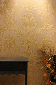 Belgravia Damasco Italiano Wallpaper OR STENCIL A HALLWAY WALL OR POWDER ROOM WITH STENCILS AND GOLD /BRONZE /SILVER PAINT