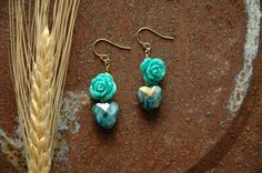 Stained Glass Sacred Heart Turquoise Blue Enchanted Rose Earrings Teal Green Woodland Girl Cowgirl Bling Ambient Atelier Art Jewelry Design by AmbientAtelier on Etsy