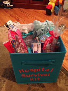 Baby shower gift-hospital survival kit.  Contains nursing pajamas, hand sanitizer, shampoo, conditioner, body wash, Burt's bees lip balm, lollipops, mints, socks, toothbrush, toothpaste, body spray, lotion, and headbands.  All in a reusable basket colored to match the nursery of the mom-to-be.