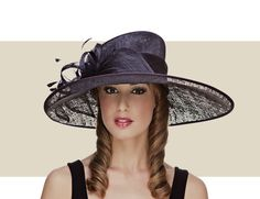 THE DIANA - Oval Brim Hat with Sinamay Bow and Feathers.