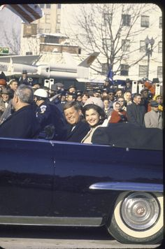 President John Kennedy with wife Jacqueline in the Inaugural Parade.