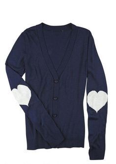 Heart Elbow Patch Varsity Cardigan - Sweaters up to 30% off - Tops - dELiA*s