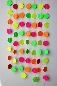 Neon decorations, Hawaiian party, Birthday party decor, Pink orange yellow green neon garland, K-C-0045, Nursery decor