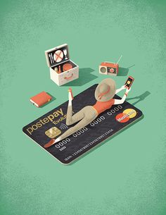Editorial illustration for a spot page published on Lettera P magazine. #magazine #creditcard #money #app #shopping #relax #picnic #vintage