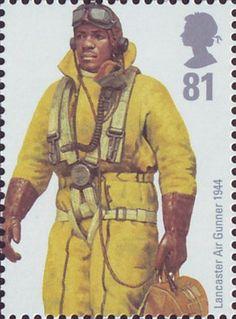 RAF Uniforms 81p Stamp (2008) Lancaster Air Gunner 1944