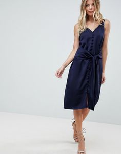 ADELYN RAE VIOLA TIE SLIP DRESS - BLUE. #adelynrae #cloth #