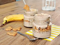 healthy and easy Banana Pudding, kids food   Schneller Bananen-Pudding mit Keksen