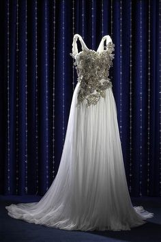 Swarovski white gown, gorgeous and flowing