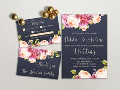 Printable Wedding Invitation Floral Wedding Invitation by lipamea