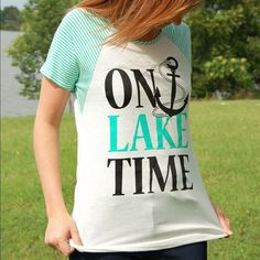 NWT On Lake Time Mint Stripe Graphic Tee Top This comfy top is perfect for all your weekends at the lake this summer! Runs true to size and made in the USA! Model is wearing size small Paperback Boutique Tops Tees - Short Sleeve