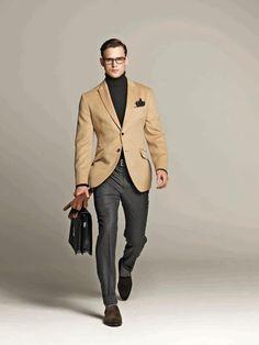 Camel Hair Suit Jacket, Black Turtleneck, Glen Plaid Gray Pants and Brown Shoes. Men's Fall/Winter Fashion.
