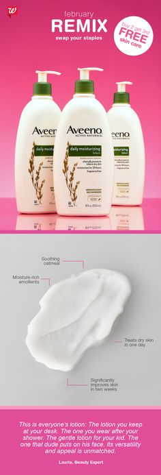 Did you know? Colloidal oatmeal, a main ingredient in AVEENO Daily Moisturizing Lotion, helps to seal moisture in dry and sensitive skin. Enjoy this benefit, head to toe!