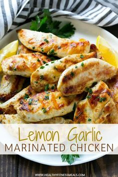 Lemon Garlic Marinated Chicken is part of Garlic Lemon Chicken Marinade Healthy Seasonal Recipes - An easy marinated chicken recipe that's full of herbs and spices and is the perfect main course or addition to soups, salads, sandwiches and more! Marinated Chicken Recipes, High Protein Chicken Recipes, Easy High Protein Meals, Healthy Protein Dinner Recipes, Lemon Garlic Chicken Marinade, High Carb Meals, High Protein Dinner, Chicken Lunch Recipes, Dessert Healthy