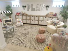 This Whimsical Modern Farmhouse Playroom Is Stuff Dreams Are Made Of - - This stunning basement playroom is filled with magical modern farmhouse playroom ideas—from organization to toy storage—that kids & parents will love! Loft Playroom, Playroom Wall Decor, Modern Playroom, Baby Playroom, Playroom Organization, Playroom Design, Playroom Ideas, Playroom Table, Modern Kids Toys