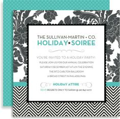 floral + tweed in blue invitation #holiday #party #glam #Invitation