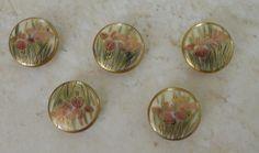 Vintage Satsuma Porcelain Button Delicate Floral by mamiezvintage, $12.95