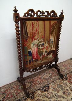 Victorian Fire Screens | Early Victorian Rosewood Fire Screen