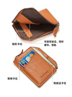 Leather Men, Leather Wallet, Rfid Wallet, Minimalist Fashion, Money Clip, Zip Around Wallet, Card Holder, Bring It On, Zipper