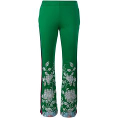 Gucci Embroidered Track Pants (31.189.915 VND) ❤ liked on Polyvore featuring activewear, activewear pants, gucci, embroidered sportswear and track pants