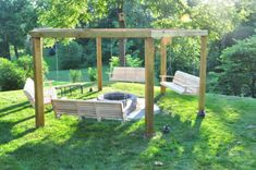 Cheap Lawn Mowers 584834701585172626 - Porch Swing Fire Pit Pergola (with plans)… I want to do a circle of gravel around mine, though, so no one has to try to get in there with the lawn mower/weed eater Source by Fire Pit Pergola, Fire Pit Swings, Fire Pit Backyard, Fire Pit Ideas With Swings, Cheap Fire Pit, Diy Fire Pit, Outside Fire Pits, Fire Pit Furniture, Outdoor Furniture