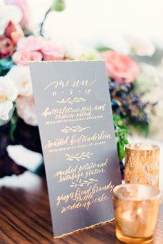 Gold calligraphy menu
