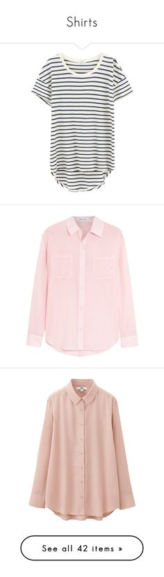 """Shirts"" by jaqsancake ❤ liked on Polyvore featuring tops, t-shirts, shirts, striped tees, white scoop neck tee, white striped shirt, white shirts, white t shirt, blouses and clothing - ls tops"