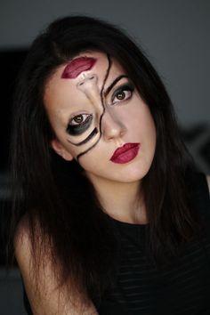 last minute Halloween Make up half face girl (Halloween Basteln Diy)