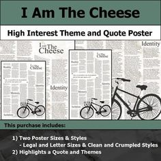 I am the Cheese - Visual Theme and Quote Poster for Bulletin Boards Quote Posters, Letter Size, Bulletin Boards, Highlight, Students, Printable, Key, Cheese, Lettering