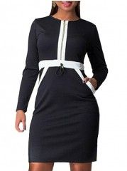 Color Block Pockets With Zips Remarkable Round Neck Plus-size-bodycon-dress