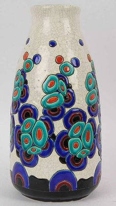 Boch Freres Keramis Art Deco Modernist Vase by Charles Catteau Pattern Roseville Pottery, Pottery Vase, Ceramic Pottery, Ceramic Clay, Ceramic Painting, Pottery Patterns, Painted Coffee Mugs, Clay Vase, Pottery Sculpture