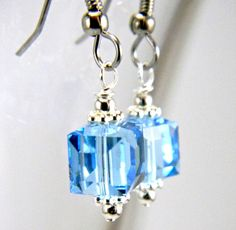 Aquamarine Cube Earrings  Sky Blue Swarovski Crystal Wire Wrapped Drop Dangle Earring on Stainless Steel   Beaded Jewelry  Hypoallergenic. $10.00, via Etsy.
