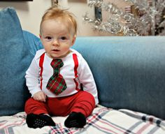 Handmade Christmas Onesie With Snap On Tie And Suspenders Cute Baby Boy Christmas Outfit