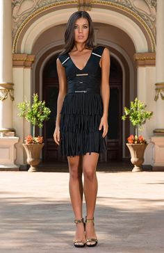 The classic black party fringe dress has had a daring makeover. Prunellie is a gorgeous figure-hugging mini black bandage dress with metallic decoration and fringing detail. Black Party Dresses, Fringe Dress, Flattering Dresses, Animal Print Dresses, Street Chic, Beautiful Dresses, Dress Up, Glamour, Aw15 Trends