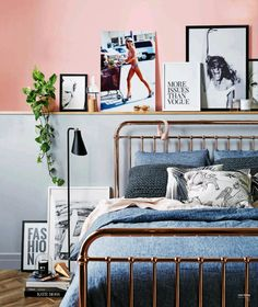 25 Decorating Bedroom with Wood-Metal Material Bed – Design Kaktus Glam Bedroom, Home Bedroom, Bedroom Decor, Bedrooms, Bedroom Ideas, Master Bedroom, Stylish Bedroom, Bedroom Inspiration, Shelf Above Bed
