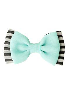 Mint Black & White Striped Hair Bow,