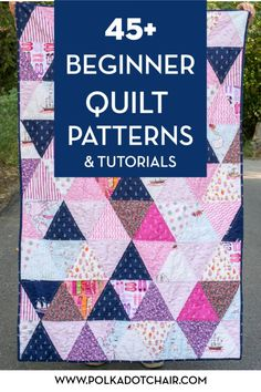 45 + Free quilt patterns for beginning quilters. Learn how to quilt with these cute ideas. #quilts #quilting