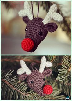 DIY Rudolph the Reindeer Christmas Ornament Free Pattern  - #Crochet Christmas #Ornament Free Patterns