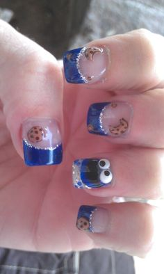 Just for fun #acrylic #nails #cookiemonster
