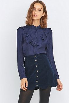 Urban Outfitters Ruffle Front Blue Blouse