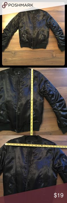 Dark forest-green shiny bomber LOVE this color green, you don't see it often. Forever 21 Jackets & Coats