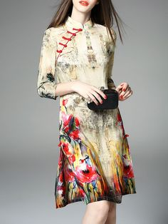 Beige Floral Crew Neck sleeve A-line Cocktail Printed Slit Silk Midi Dress b1ba025a0cf9