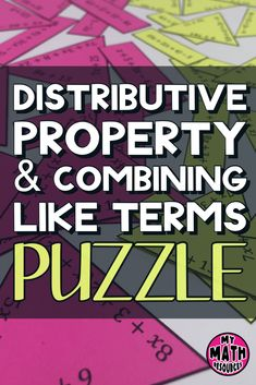 This is a fun and engaging way for your or grade math students to practice the distributive property and combining like terms. The problems have positive numbers only and are aligned with CCSS Math Games, Math Activities, Math Math, Math Fractions, Math Class, Math Teacher, Multiplication, Teaching Math, Math Lesson Plans