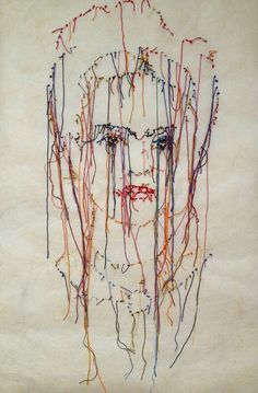 """Saatchi Art Artist GUACOLDA Pascal; embroidered portrait on paper, """"Frida"""" #art 